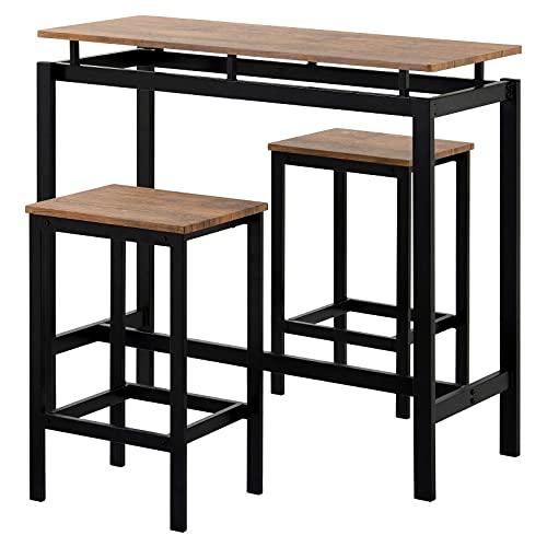 Juego de mesa de bar, mesa de bar con 2 taburetes, mesa de barra de desayuno y taburete, mostrador de cocina con sillas de bar, industrial para cocina, sala de estar, sala de fiestas, marrón
