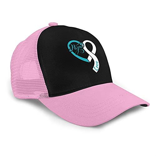 Ovarian Cancer Conciencia Esperanza Amor Estilo Americano Malla Transpirable Gorra De Béisbol Ajustable Hip Hop Snapback Sombreros, rosa, Taille unique