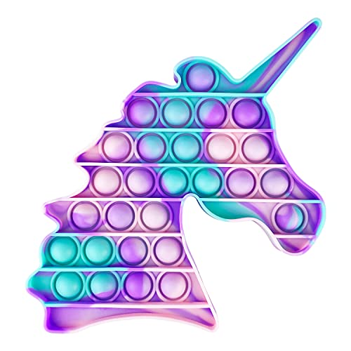 Aurstore - Giocattolo antistress Fidget Toy, Push It Pop Bubble, giocattolo sensoriale da spremere, in silicone, per la concentrazione, la calma (unicorno verde + rosa + viola)