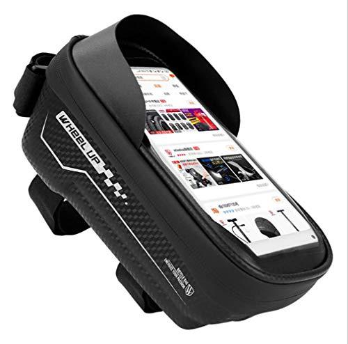 ConPush Bolsas de Bicicleta para Teléfono Movil Dentro de 6,5 Pulgadas Bolsa Táctil Bicicleta Impermeable Cremallera Doble Viseras y Pantalla táctil TPU (Black 6.5'')