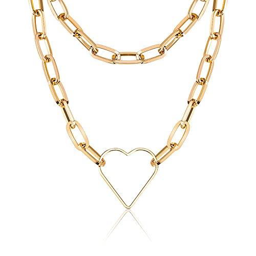 WWWL Collares Cadena de fígaro Collar Hombres Acero Inoxidable Oro Color Collar Gargantilla en Forma de corazón para Mujeres Hombres joyería 200