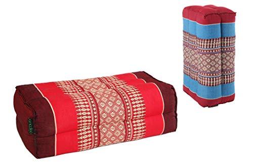 ANADEO Standard - Juego de 2 Yoga y meditación Cojín Zafu Estándar - Kapok de Alta Densidad 100% Natural - Confort y Firmeza - Estabilidad de Asís - Borgoña Azul Rojo Borgoña /