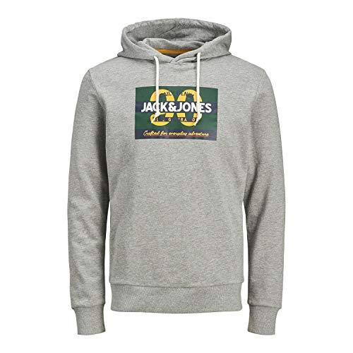 Jack & Jones JORTONNI Sweat Hood STS Sweatshirt Capuche, Light Grey Melange/Print:REG ´90, L Homme