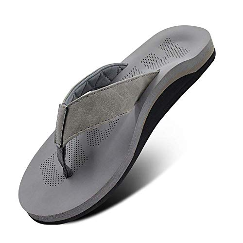 Men Sandals Flip Flop with Orthotic Arch Support Athletic Slide Sandals for Men with Soft Cushion Footbed Grey Size: 8 US