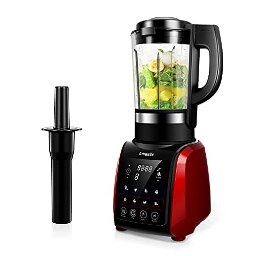 Blender for Shakes and Smoothies,1200W Blender For Kitchen with 9 Pre-Programmed Settings, 64oz Glass Blenders, Cold & Heat Function with Timer, MR-01 RED
