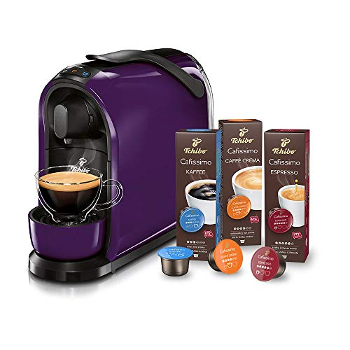 Tchibo Cafissimo Pure Kapselmaschine (für Kaffee, Espresso, Caffé Crema und Tee) (inkl. 30 Kapseln) (Purple)