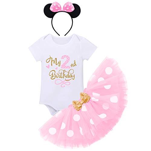FYMNSI Baby Mädchen Mein 2. Geburtstag Party Outfit Minnie Kostüm Baumwolle Kurzarm Body Strampler Prinzessin Gepunktet Tütü Tüll Rock Pailletten Schleife Stirnband 3tlg Bekleidungsset Rosa