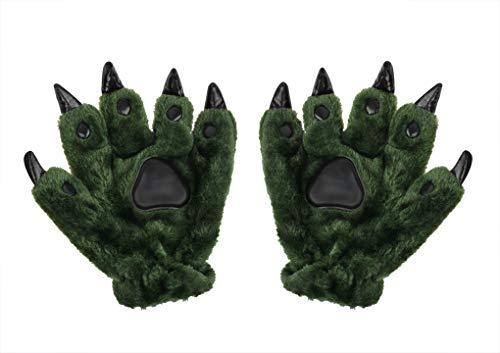 Unisex dikke dier kostuum dinasour kat poot klauw wolf handschoenen winter warm pluche handschoenen schattig wanten gewatteerde hand warmer voor halloween cosplay partij mooie jurk