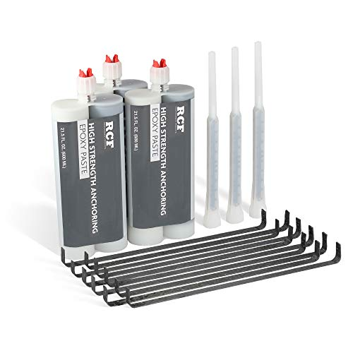 RCP USA Concrete Crack Repair Kit to Reinforce up to 25 feet of Basement, Garage, Pool Cracks | A MUST for All Poured Concrete Walls and Floors, 12', Black with grey epoxy (RCF-30SK)