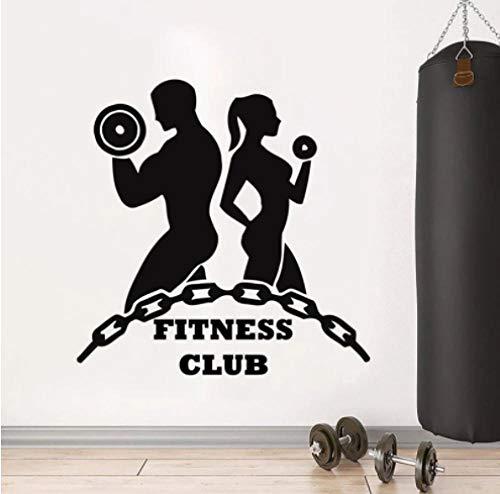 Fitness Club Logo pared calcomanía niños niñas entrenamiento ejercicio deportes gimnasio decoración interior arte puerta ventana vinilo calcomanía papel tapiz 42x42cm