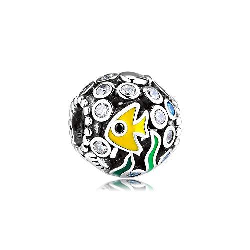 LIIHVYI Pandora Charms para Mujeres Cuentas Plata De Ley 925 Joyas Bubbles Fish In Ocean World Compatible con Pulseras Europeos Collars