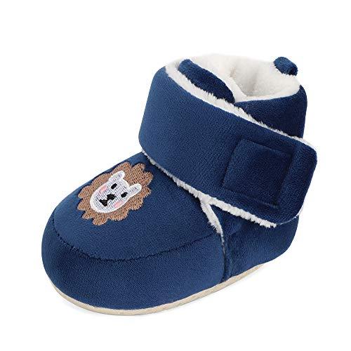 Matt Keely niemowlęce chłopcy dziewczęta kreskówka antypoślizgowa miękka podeszwa grube pantofle buty dla niemowląt buty do raczkowania zimowe buty z pluszową podszewką, - granatowy - 6-12 Miesiące