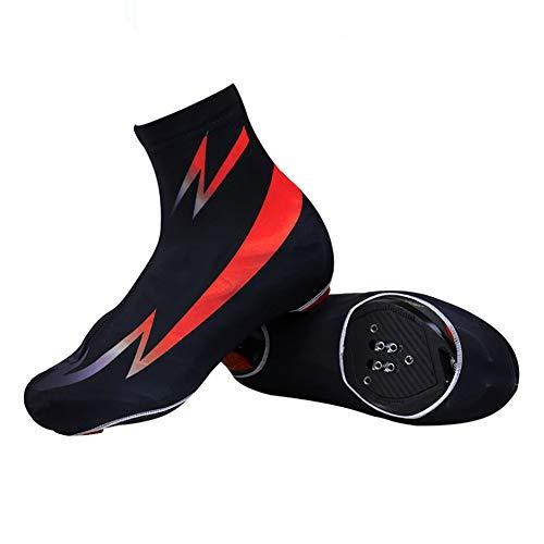 Cubrezapatillas de Ciclismo para Verano y Primavera, Cubrezapatillas de Ciclismo Zapatillas con Cierre Resistente Al Viento y Al Polvo Adecuado para Hombres y Mujeres,Rojo,L