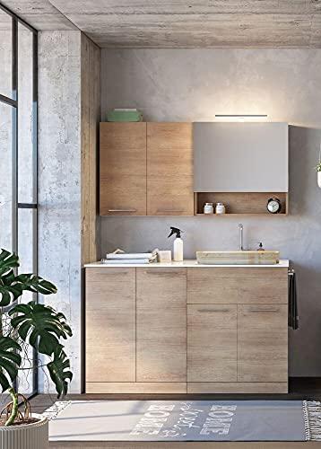 Dafne Italian Design Mueble de lavandería para lavadora con acabado de roble y lavabo integrado. Medidas: 140 x 62 cm.