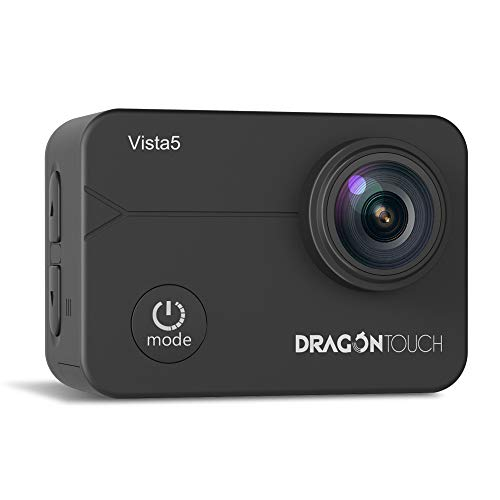 Dragon Touch Action cam, 4K/30FPS Action camera/Ultra HD Wifi Unterwasserkamera 40M Video EIS Anti-Shake Helmkamera mit Touchscreen, Fernbedienung, wasserdicht Gehäuse ,Montagezubehör-Kit Vista5