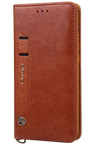 Funda cartera Samsung Galaxy S7 Edge con una solapa para llevar tarjeta de credito y dinero, Marrón