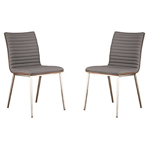 Armen Living Caf Dining Chair Brushed, Gray Kitchen & Dining ChairBrushed Stainless Steel, Walnut back Kitch, 33.5