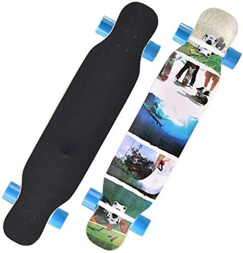 Tabla completa de skateboard Longboard, tablas de crucero de patinaje freeride para adultos, rodamientos ABEC de alta velocidad, 8 capas de madera de arce importada, rueda de PU de 80 A, soporte de al