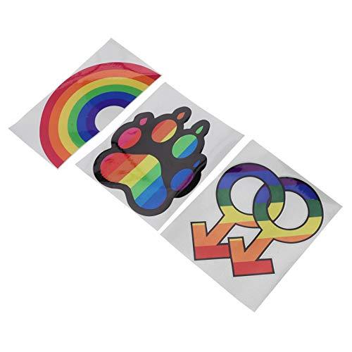 BESPORTBLE 3pcs Rainbow Decorative Sticker Irregular Car Decals Personalized Sticker