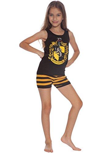 Harry Potter Girls' Big Hufflepuff House Crest Cotton Tank Top Pajama Short Set, 10