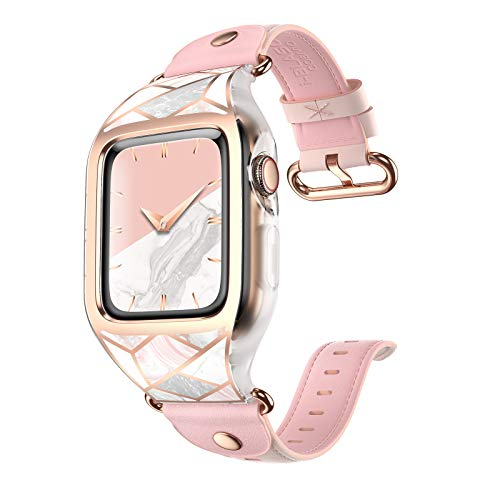 i-Blason Band Designed for Apple Watch Series 6/SE/5/4 [44mm], [Cosmo] Stylish Sporty Protective Bumper Case with Adjustable Strap Bands (Marble)