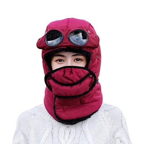 AKAIDE Herren Damen Mütze Beanie Fahrrad Ohrenschutz Warm für Winter Dicker Winddicht und Warm Baumwolle Kappe Ski Hüte Jagd Angeln Kappen Gr. M, wein