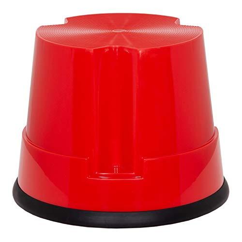 hjh OFFICE Tritthocker TIO-S Kunststoff Elefantenfuß TÜV geprüft, Höhe 30 cm, bis 150kg belastbar, mit Rollen 830004 Rot