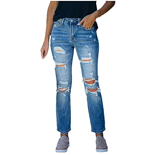 OutTop Broken High Waisted Jeans for Women Button Classic Washed Blue Denim Loose Casual Comfy Straight Pants Trouser (Blue, XXL)