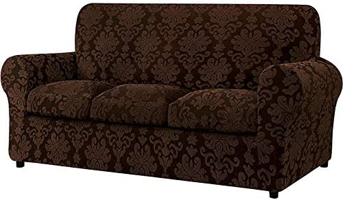 Fashion SANOCAY High Stretch 3 Piece Ranking TOP17 Jacquard Cozy Sofa Soft C Slipcover