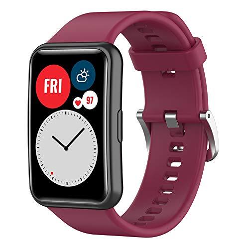 Braleto Correa de Reloj de Compatible con Huawei Watch Fit, Repuesto de Correa Reloj de Silicona Pulsera, Banda de muñeca Suave y Transpirable(Color Múltiple) (Vino Tinto)
