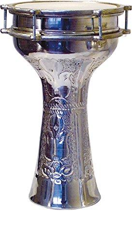 Vatan 305Türkische Darbuka, Ziseliert, große Größe mit Schellen, Durchmesser 23cm grau