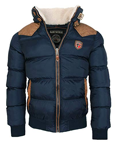 Geographical Norway warme Winterjacke Designer Herren Winter Stepp Jacke [GeNo-31-Navy-Gr.S]