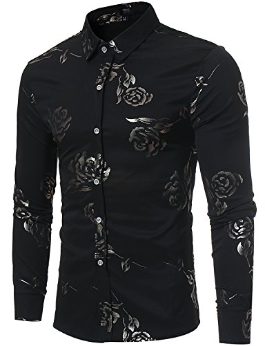 ZEROYAA Mens Hipster Gold Rose Printed Slim Fit Long Sleeve Dress Shirts/Prom Performing Shirts Z56 Black Medium