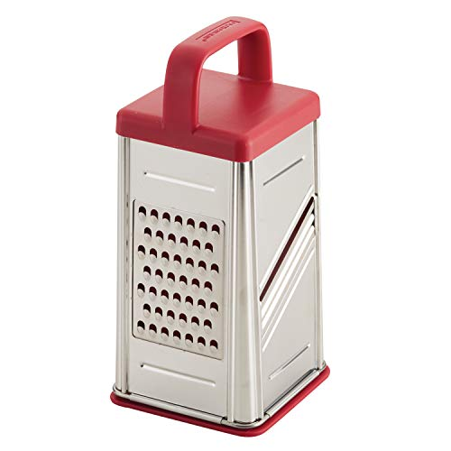 Rachael Ray Tools and Gadgets Stainless Steel Box Grater for Vegetables, Chocolate, Hard Cheeses, and more, Red