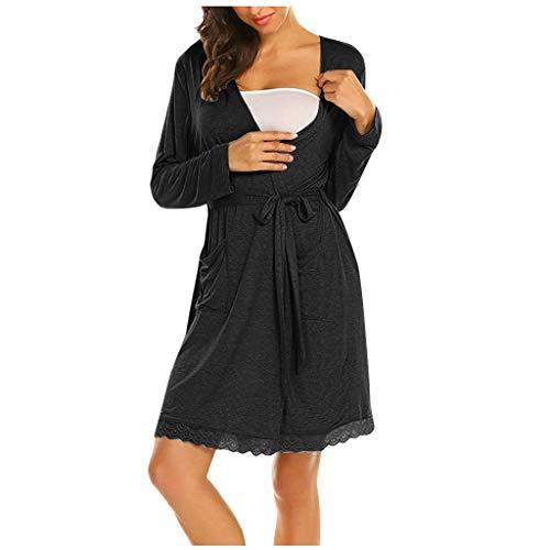 Allence Damen Morgenmantel Kimono Kurz Robe Bademantel Nachtwäsche Gestreiftes Sleepwear V-Ausschnitt Still-Nachthemd für Schwangere mit Spitze&Gürte (2XL, Schwarz2)
