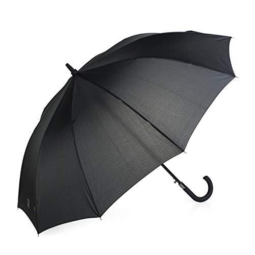 Lois - Klassieke grote paraplu. Automatische opening 10 staven. Winddicht gebogen handvat. Versterkte structuur. Sterk lichtgewicht en elegant. 13107, Color Zwart