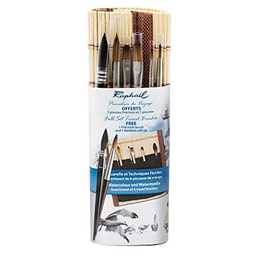 Raphael Precision & SoftAqua Mini Travel Brush Set, Bamboo, Round 0, Round 2, Flat 0, Flat 2, Filbert 1, Mop 4, Natural