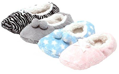 Zapato 4 Paar kuschelige Plüsch Hausschuhe Slipper Hauspuschen ABS Antirutsch Bequemschuhe in tollen Designs UNI GRAU ANIMAL PRINT STERNE POLKA DOTS (35-38)