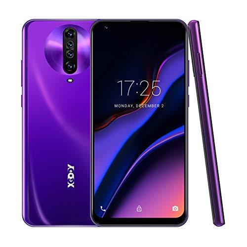6.8 Inch Unlocked Smartphones,Xgody K30 Android 10.0 Cell Phone Cheap,Dual Sim Free Phones,Dual 5MP + 64GB Storage(Purple)