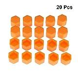 Vosarea Cilindro de Tuercas Cubierta Silicona Tornillos Proteger Tapas 19mm 20Unidades (Naranja)
