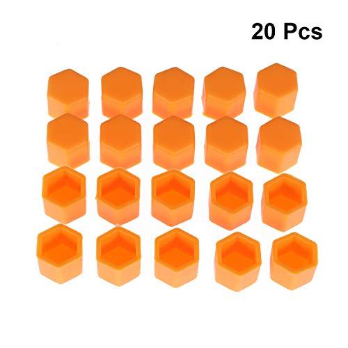 VOSAREA Radmuttern Abdeckungen Silikon Schrauben Schützen Kappen 19mm 20 Stück (Orange)