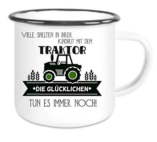 Crealuxe Emaille Tasse mit Rand Viele Spielen in Kindheit mit Traktor, glückliche Immer noch - Kaffeetasse mit Motiv, Campingtasse Bedruckte Email-Tasse mit Sprüchen oder Bildern