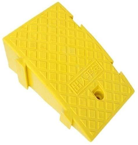 WANGXIAOYUE Rampas de plástico para escaleras, rampas de umbral de garaje, rampas portátiles de servicio para la pendiente, rampa de seguridad (color amarillo, tamaño: 25 x 45 x 19 cm)