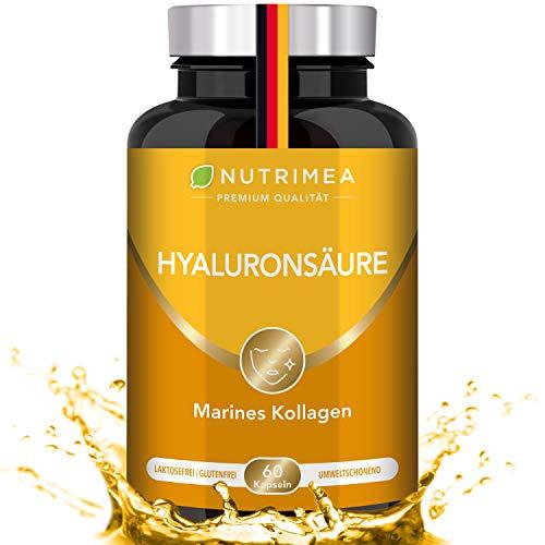 Hyaluronsäure Kapseln Hochdosiert | Marines Kollagen 100% Bioverfügbarkeit | Angereichert mit Vitamin C + Vitamin A | Hyaluron Glatte Haut Ohne Falten Anti Aging Gelenke Collagen Gelenkkapseln