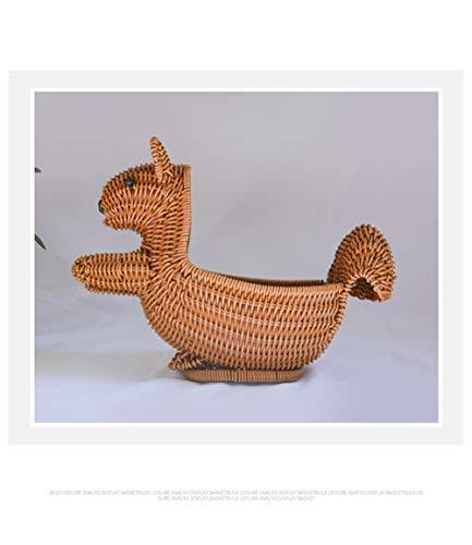 Seagrass Basket Creative Cartoon Pp Rattan Basket Squirrel Turkey Shape Fruit Basket Rattan Storage Bread Basket,30X12X11cm