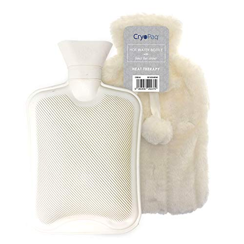 Large Luxury Hot Water Bottle with Faux Fur Cover 2L, Cosy Bed Warmer & Soft Bag Cover by Cryopaq - Cream