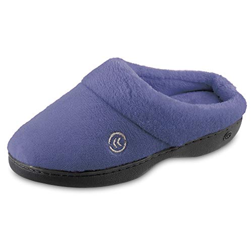 isotoner womens Terry in Clog, Memory Foam, Comfort and Arch Support, Indoor/Outdoor Slip on Slipper, Deep Periwinkle, 8.5-9 US