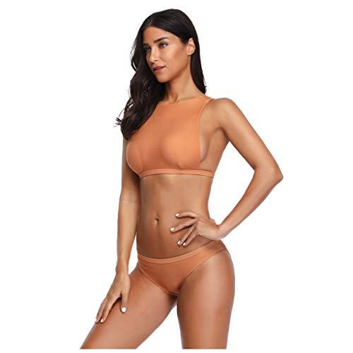 LoveLeiter Damen Zweiteiliger Bikini Set Push Up Pads Badeanzug Oberteil Triangel Strandmode Sportlich Bademode Rückenfrei Bauchweg Hose Gepolstert Einlagen für Frauen