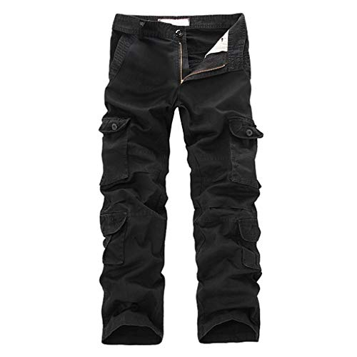 Mymyguoe Herren Cargo Hose Lang Lässige Fitness Freizeithose Straight Leg Wanderhose Sporthose Sweatpants mit Vielen Taschen Gerade Regular Fit Outdoor Tactical Hose Rangerhose (Ohne Gürtel)