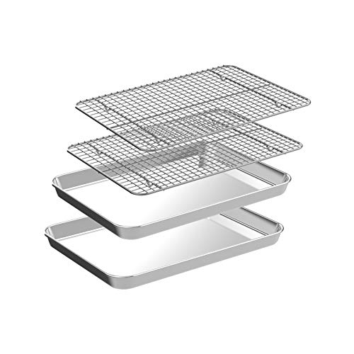 Quarter Baking Sheet with Rack Set [2 Pans + 2 Racks], CEKEE Stainless Steel Cookie Sheet Baking Pan Tray with Cooling Rack, Non Toxic & Heavy Duty & Easy Clean (9 Inch)